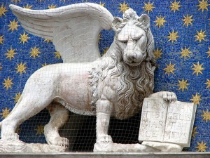 Detail of the winged lion of Venice from the Clock Tower